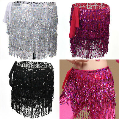 Belly Dance Costume Sequin Tassel Fringe Hip Scarf Belt Waist Wrap Skirt YJ