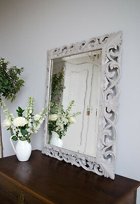 Large French Antique 19th Century Carved Oak Mirror Painted in Farrow & Ball
