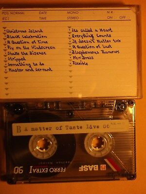 DEPECHE MODE CASSETTE TAPE LIVE RECORDED during A MATTER OF TASTE TOUR in 1986