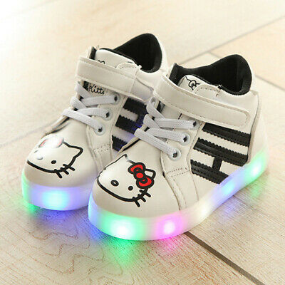 LE Hello Kitty Led Sneakers LED Light Lace Up Kids Shoes Luminous Girls Shoes