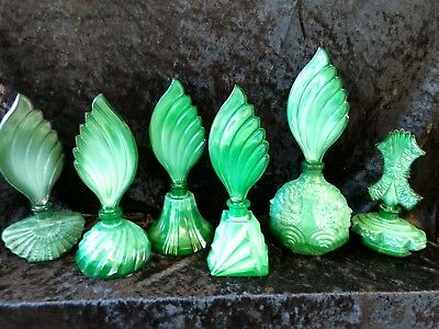 Vintage Czech New Old Stock ART DECO set of 6 malachite glass perfume bottles