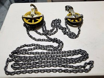 Vintage Heavy Duty Budgit Differential Chain Hoist 1/2 Ton With Chain, Very Nice