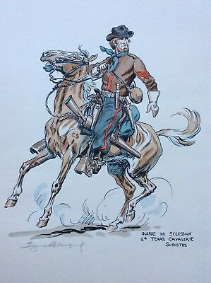 Rare Eugene Leliepvre Pencil Signed Print Confederate 8th Texas Cavalry 1861/65