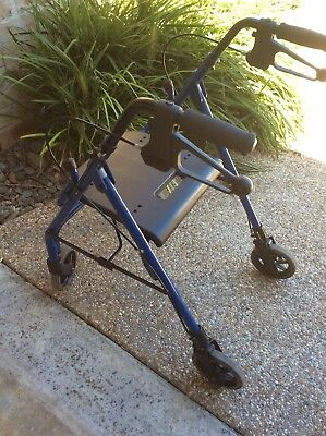 Mobility Walker Aid Elderly 4 Wheel Foldable Blue Used Melb Pick Up