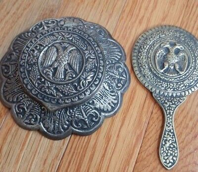 vintage Double eagle head Brass hand mirror& Compact