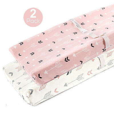 Baby Changing Table Pad Cover Contoured Diaper Change 2 pack Tote Pink White New
