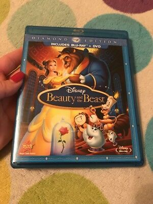 DISNEY BEAUTY AND THE BEAST Diamond Edition Blu Ray DVD 3 Disc Combo AUTHENTIC••