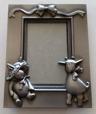 """Metal Picture Photo frame, 2"""" x 3""""  Pewter Look, Bunny Giraffe Baby"""