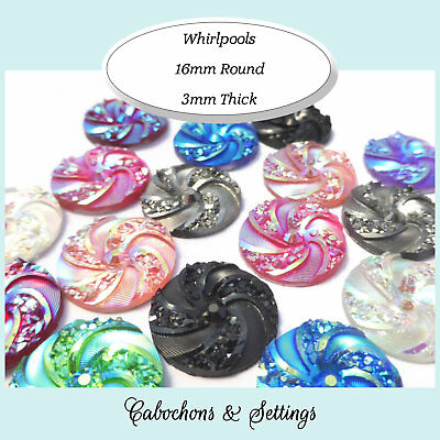10 x Whirlpool Cabochons 16mm Resin Flatback Pick A Colour
