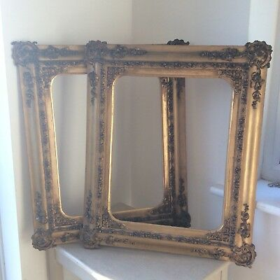 Pair Ornate Antique Victorian Gilt Wooden Picture Frames, For Painting or Mirror