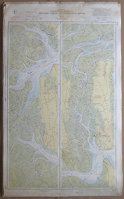 "Vtg 1951 C&GS Nautical CHART #840 INTRACOASTAL WATERWAY GA 24"" x 39"""