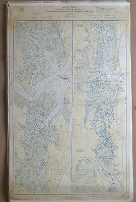"Vtg 1943 C&GS Nautical CHART #841 INTRACOASTAL WATERWAY GA FL 24"" x 38"""