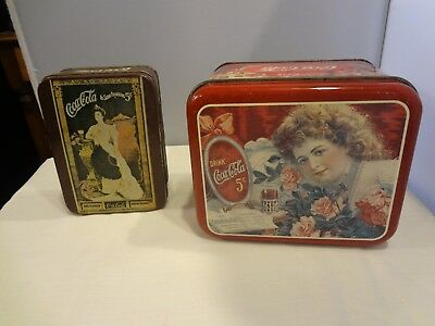 VTG 1980s COCA COLA 5 CENT TIN - PULL OFF AND HINGED LID - Great Graphics