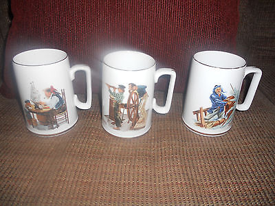 3...1985 Norman Rockwell Museum SEAFARERS Collection cups/tankards