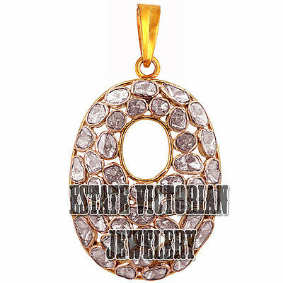 Estate Vintage 4.08Cts Real Antique Cut Diamond Silver Gorgeous Jewelry Pendant
