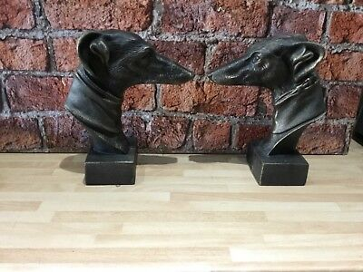 Cast Iron Greyhound Bookcase Bookends Pair