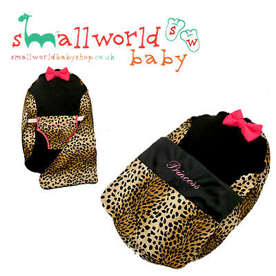 Personalised Leopard Print And Cerise Pink Baby Bean Bag Pod (NEXT DAY DISPATCH)
