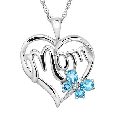 1/2 ct Natural Swiss Blue Topaz 'Mom' Heart Pendant with Diamond Sterling Silver