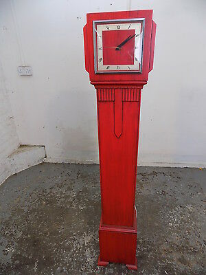 art deco,painted,red,electric,clock,grandmother clock,freestanding,art piece,