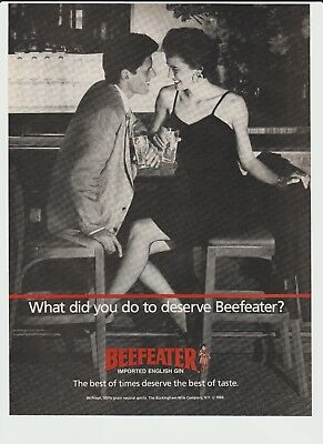 1988 - Beefeater Gin . Flirty Couple At The Bar . Different - Vintage Print Ad
