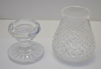 Vintage Waterford ALANA Two Piece Hurricane Style Votive Lamp Candle Holder