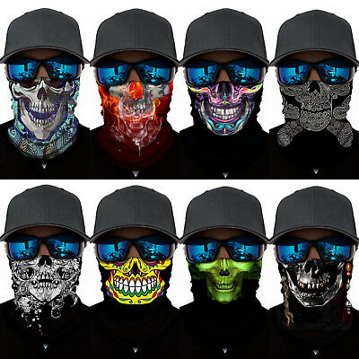 Skull Skeleton Neck Scarf Balaclava Headwear Half Face Shield Mask Bandana Snood
