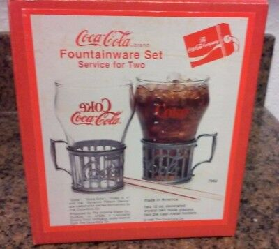 Set of 2 Vintage 1985 Coca Cola Fountainware 12oz bell glasses metal cup