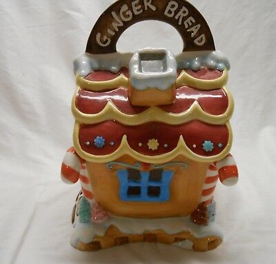 """Large Ceramic Christmas Gingerbread House Cookie Jar by Mercuries 12"""" Tall"""
