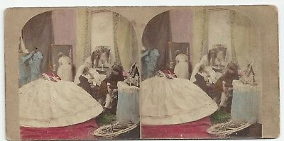 Stereo Stereoview Tinted Genre Mode MYSTERIES of CRINOLINE London 1850er