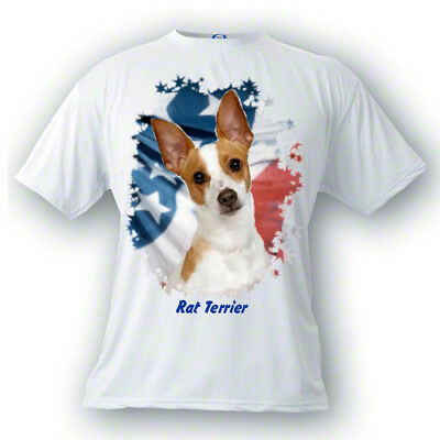 Rat Terrier   tan & white   Stars & Stripes  Custom  PERSONALIZED  Pet  T shirt