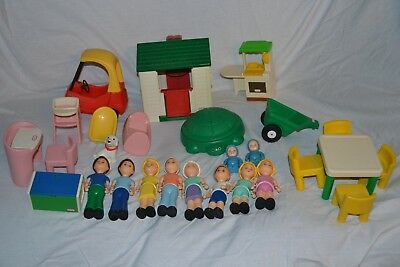 Superior Lot Of Vintage Little Tikes Doll House Furniture U0026 People GUC..27 Pieces
