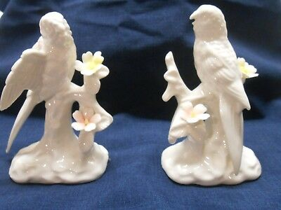 "Pair of White Porcelain Parakeet Figurines 4 3/4"" Height"