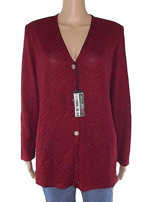 st. georges cardigan donna bordeaux vintage glitterata made italy taglia 4 large