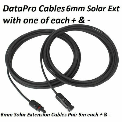 6mm Solar Panel Cable 2 x 5m Extensions With MC4 Connectors For Caravan Boat