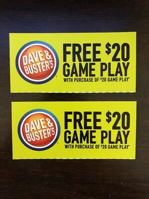 Dave and Busters Voucher - (3) Buy $20 Get $20 on your Power Card