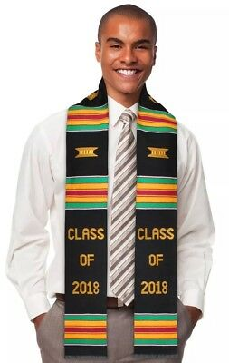Class of 2018 Kente Cloth Graduation Stole Sash Kinte Stoll