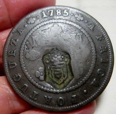 1785 (ANGOLA-PORTUGAL (COLONY) 2 MACUTA w/ COUNTERMARK (D.MARIA II ) Large coin-