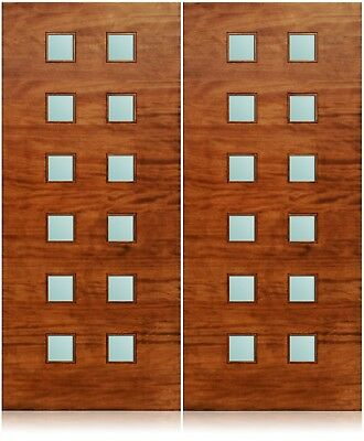 """Trinity Design 72""""x80"""" Exterior Unfinished Modern Mahogany Double Pre-Hung Doors"""