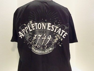 Appleton Estate Jamaica Rum Promo T-Shirt(Xl) Black 2- Sided-Made U.s.a.-Rare