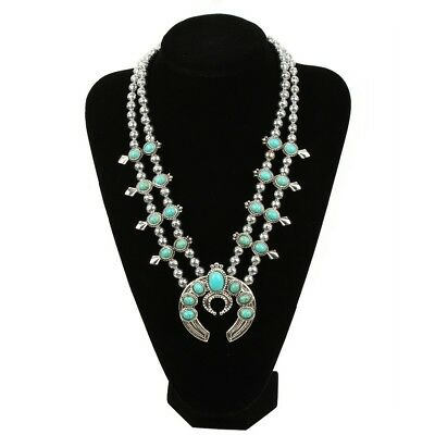 Bohemian Squash Blossom Necklace for Women Faux Turquoise Boho Fast USA Shipping