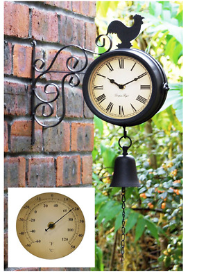 Mounted Cockerel and Bell GARDEN OUTDOOR CLOCK and Thermometer - 47 (18¾in)