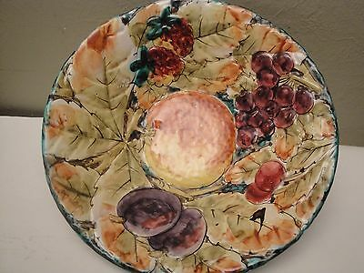 """Majolica Hand Painted Ceramic Bowl ~ Fruit In Relief ~  12"""" X 3""""  Italy Ff"""