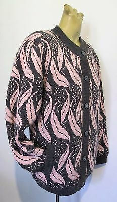 CARDIGAN Lined KNIT JACKET Pink Grey 1980s VINTAGE Chunky Sweater COAT Sz S/M ♫