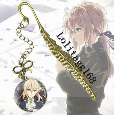 Violet Evergarden Bookmark Leaf Feaher Anime Figure Retro Box Gift Stationery