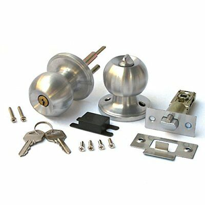 Duratron Stainless Keyed Entry Rotation Round Door Knobs Handle Entrance Pass...