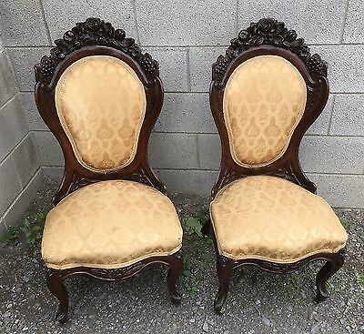 Pair Of J.h. Belter Rosewood Laminated Rosalie Chairs
