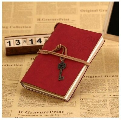 Retro Classic Leather Bound Blank RED Travel Journal Diary Notebook Sketchbook