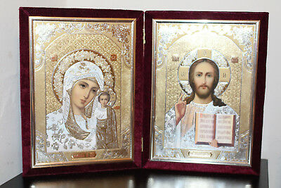 Иконы складень  Icon Jesus Christ and the Virgin of Kazan in velvet (diptych)