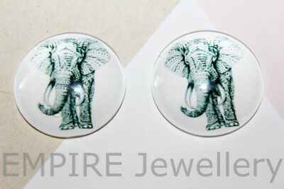 1 x Black & White Elephant 25x25mm Glass Dome Cabochon Cameo African Asian