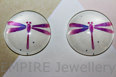 1 x Purple Dragonfly 25x25mm Glass Dome Cabochon Cameo Insect